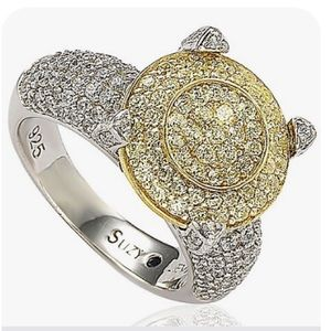 Levian pave yellow white simulated diamond ring